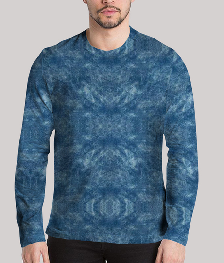 Deep blue sea men's printed full sleeves henley
