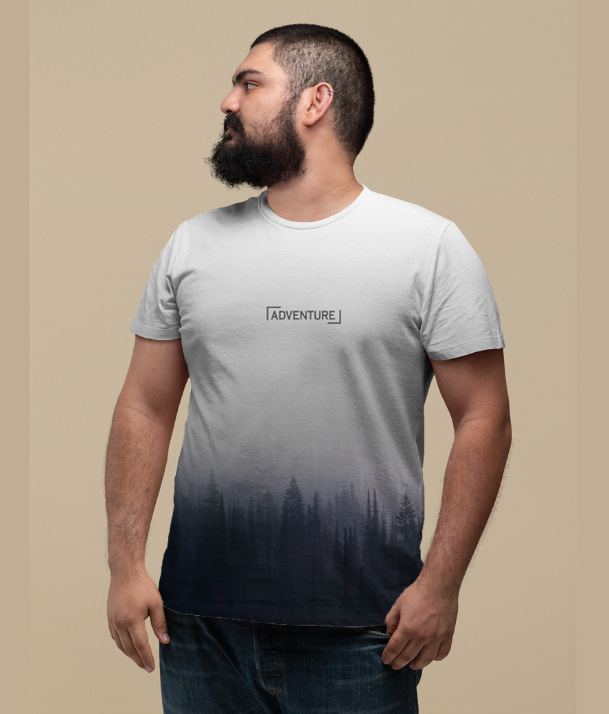 Plus size t shirt mockup featuring a bearded man looking sideways 27756