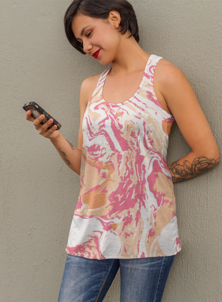 Tank top mockup of a tattooed woman texting on her phone a9240 %282%29