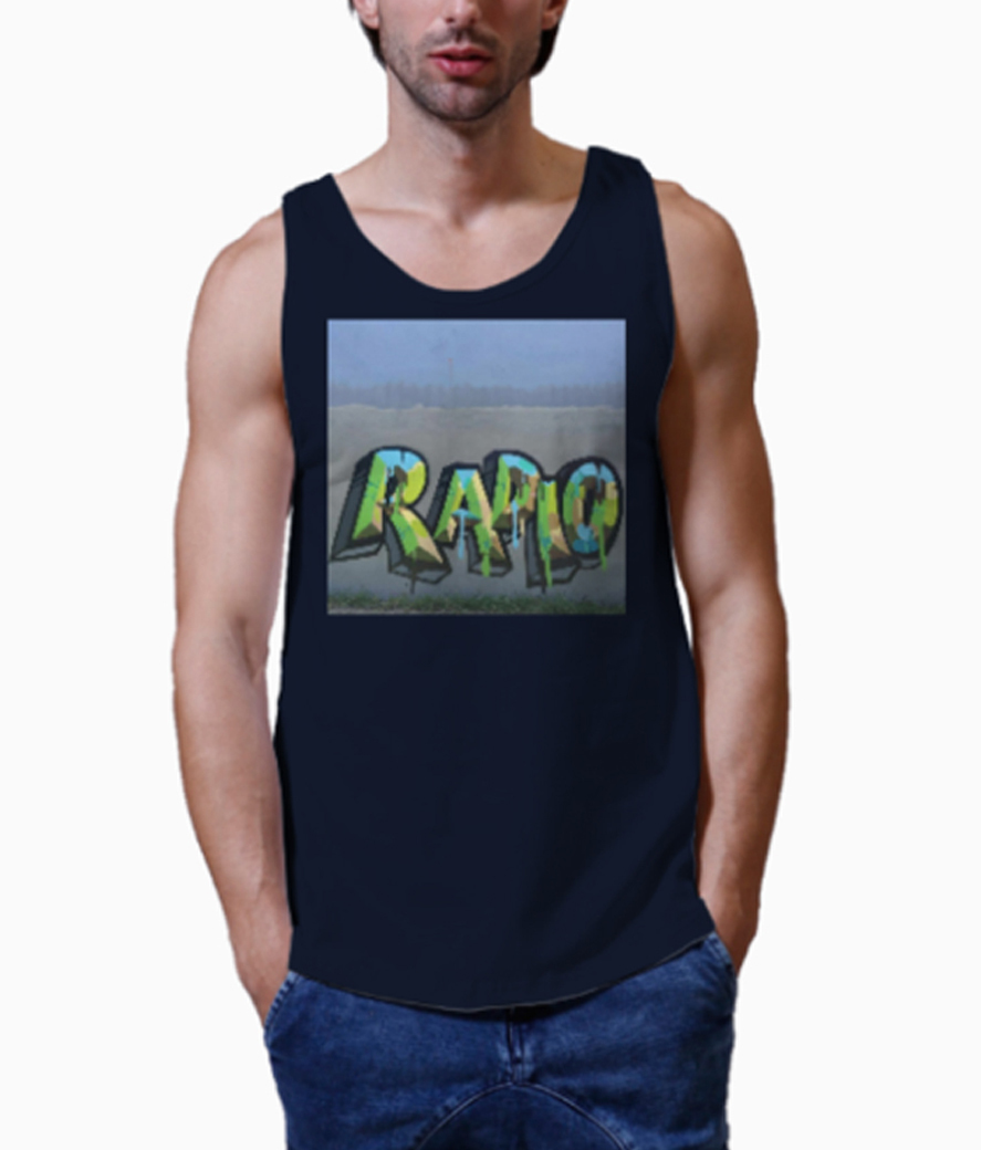 Radio graffiti men's vest close up