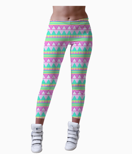 Tumblr static pink and mint hipster triangle pattern leggings front