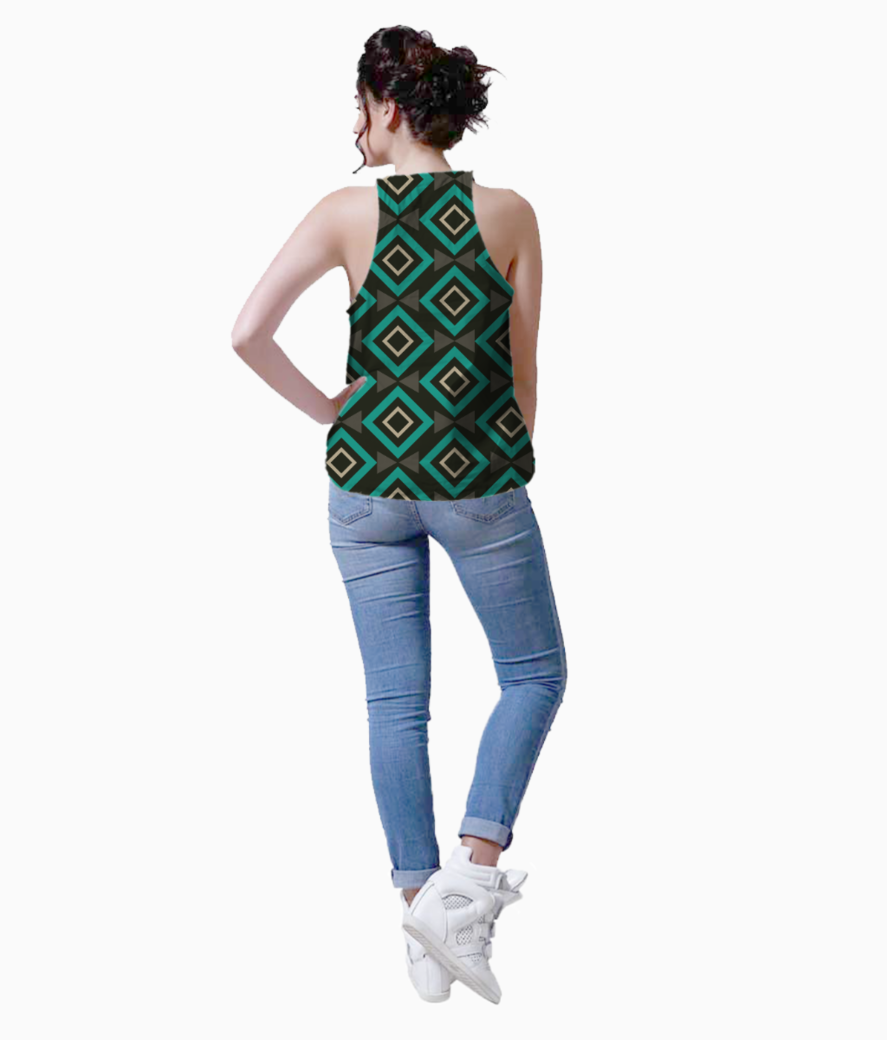 Rectangle and triangle pattern tank back