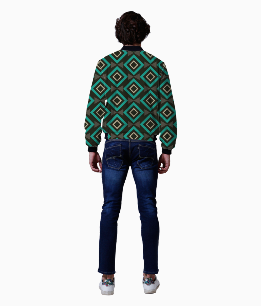 Rectangle and triangle pattern bomber back