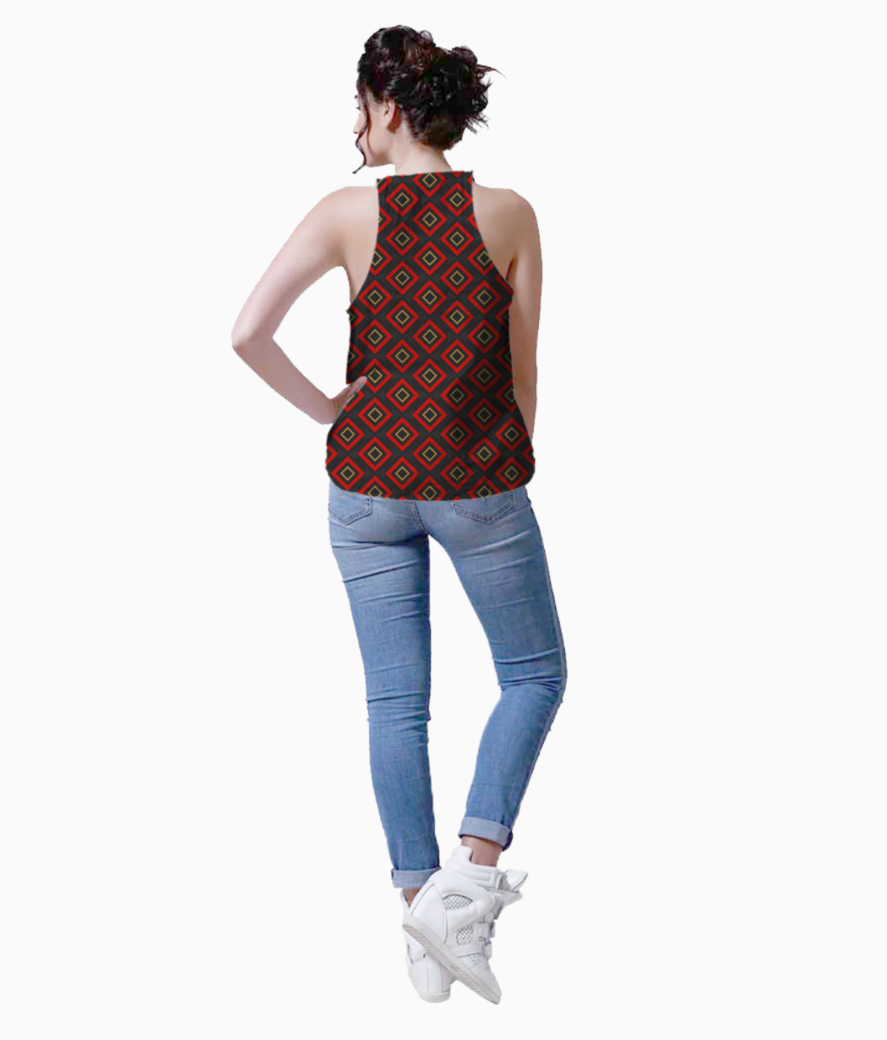 Modern red rectangular tank back