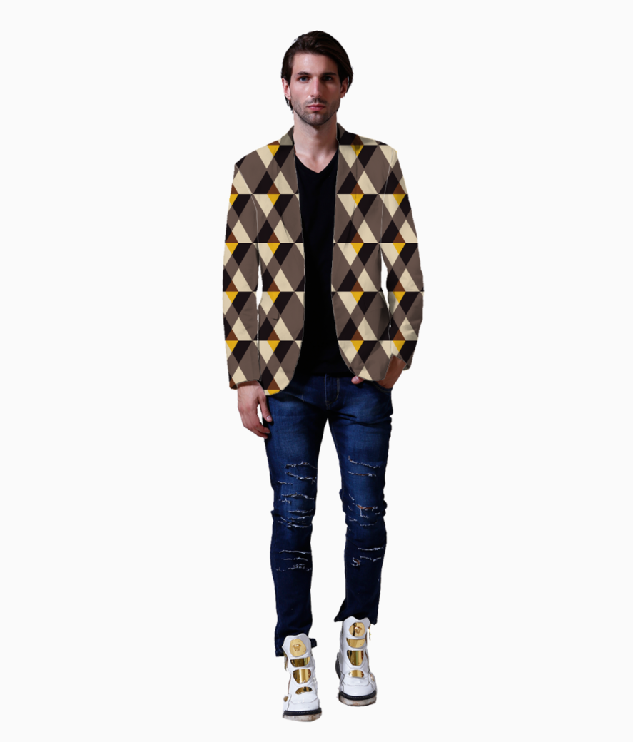 Brown with yellow tile background blazer front