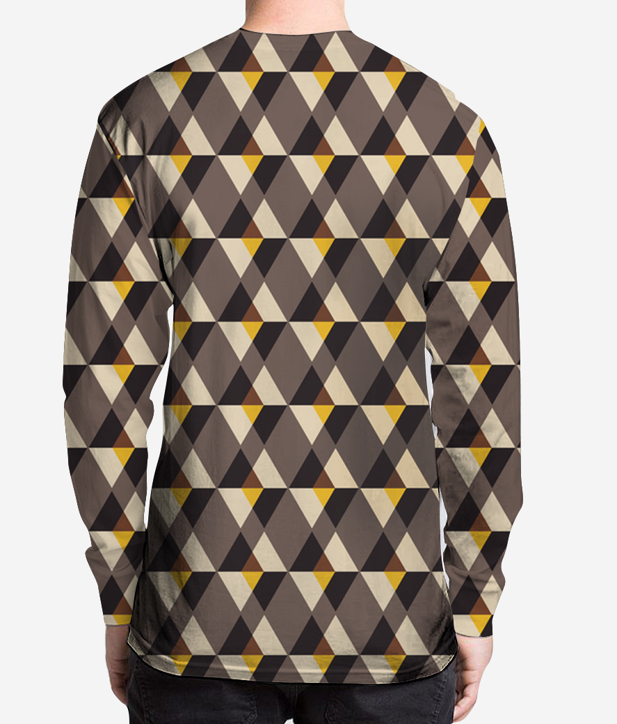 Brown with yellow tile men's printed henley back
