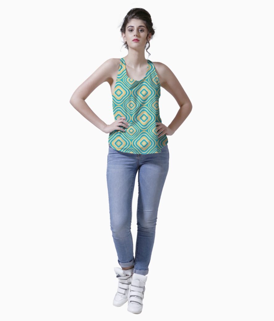 Retro rounded rectangle pattern tank front
