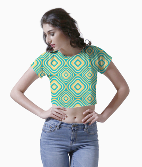 Retro rounded rectangle pattern crop top front