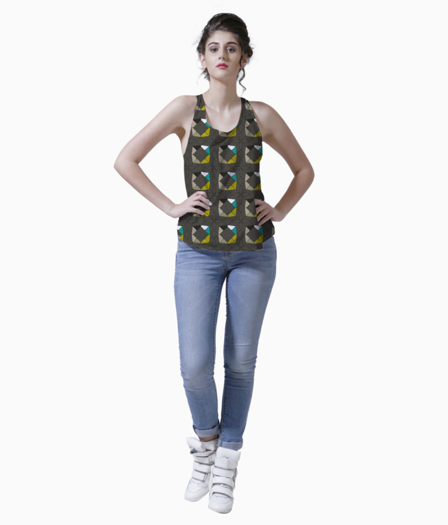 Flowers with geometric shapes tank front