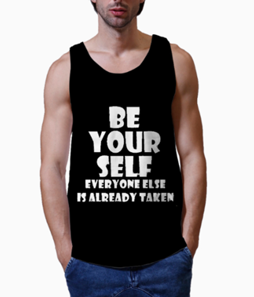 Being me men's printed vest close up