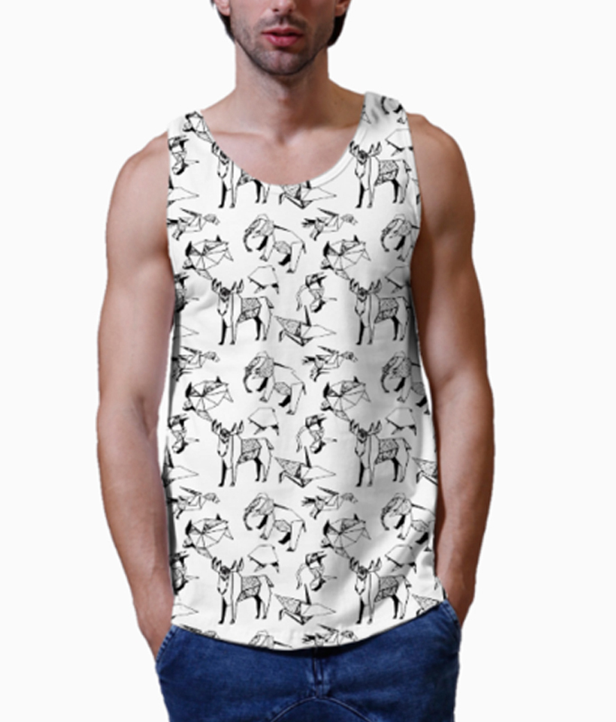 Fits and folds men's printed vest close up