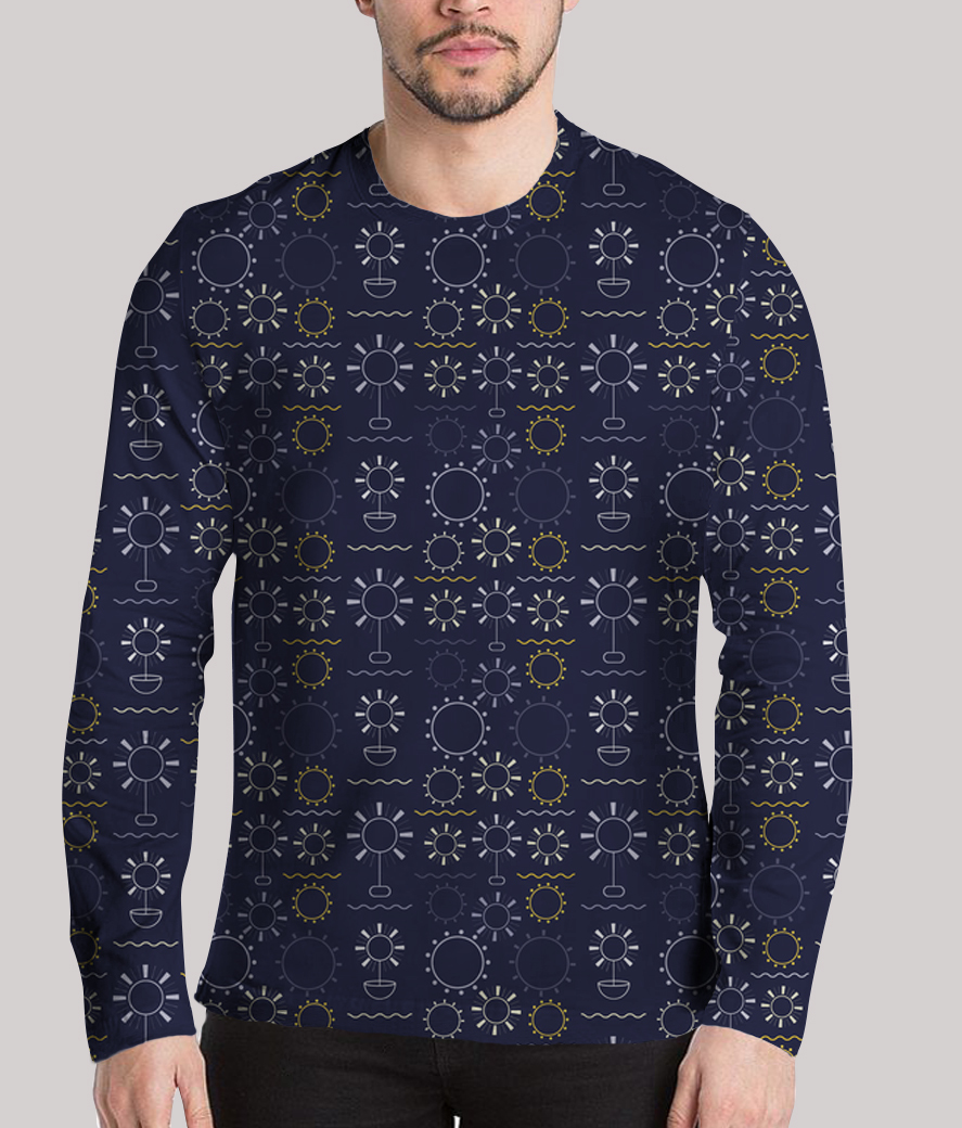 Flowers art geometric shapes dark blue men's printed henley
