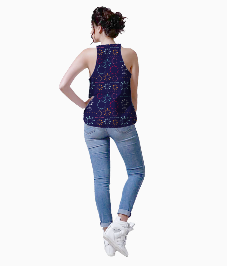 Colorful flowers art geometric shapes tank back