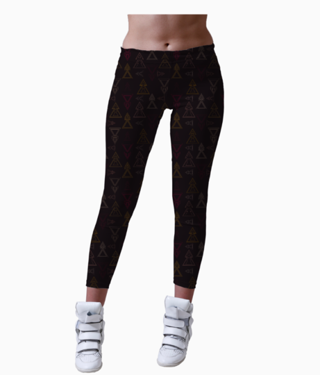 Seamless geometric triangle arrows leggings front