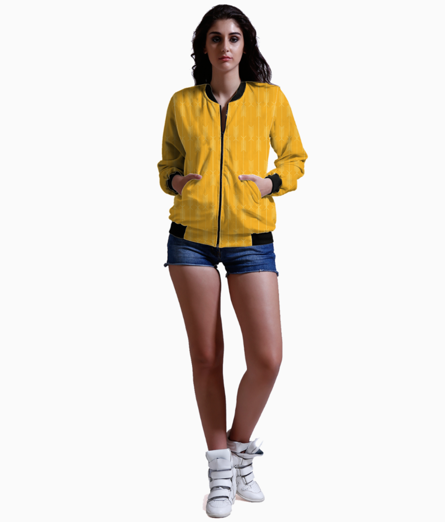 Yellow arrows fabric bomber front