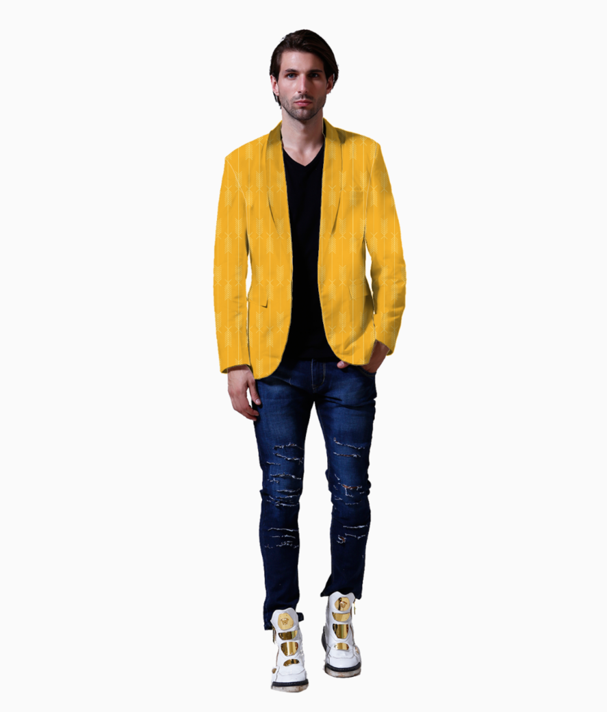Yellow arrows fabric blazer front