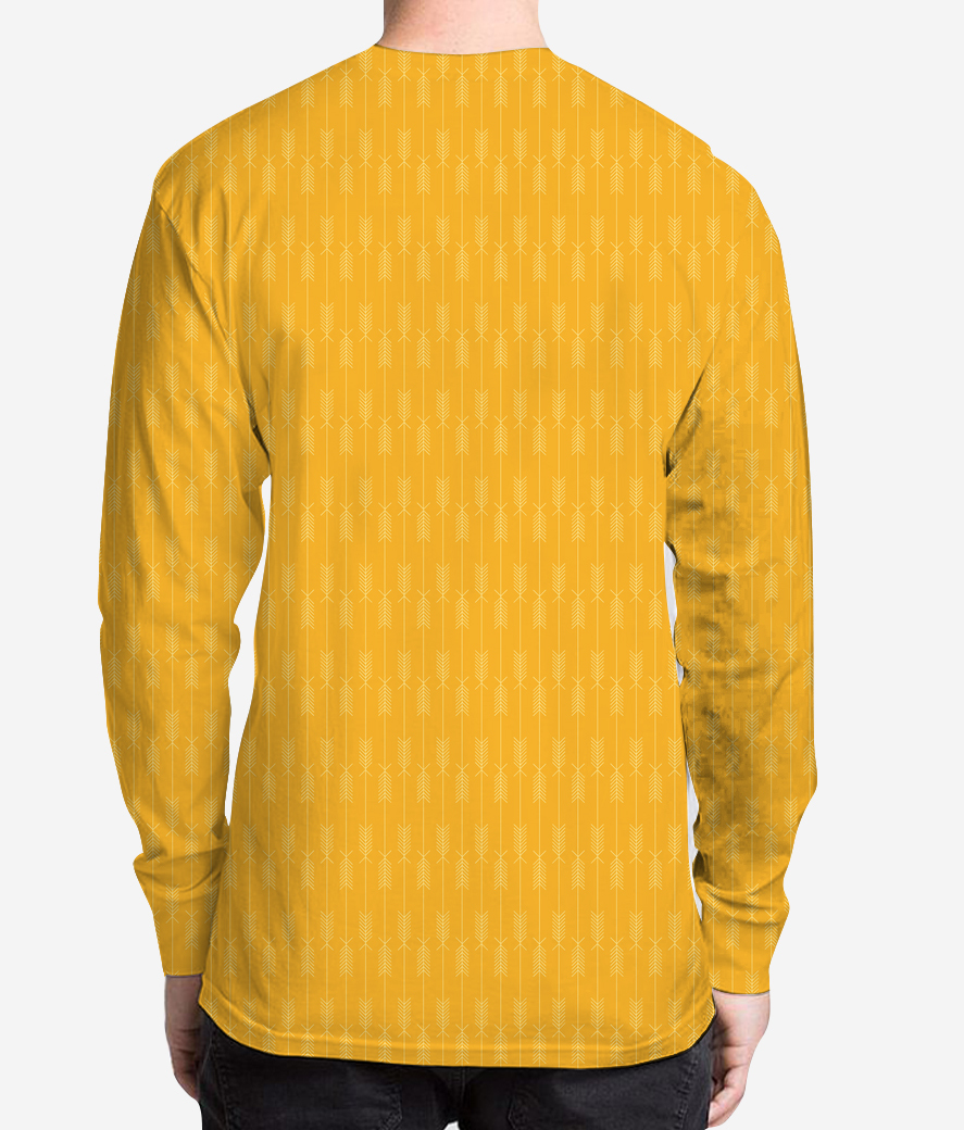 Yellow arrows fabric men's printed henley back
