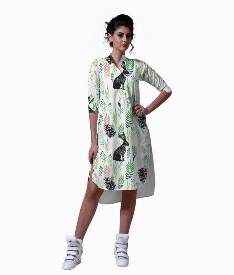 Bunnies and pinecones kurta front