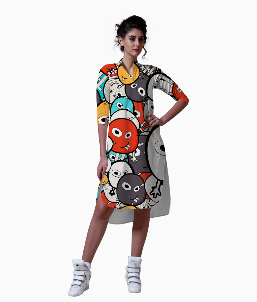 Colorful monster faces kurta front