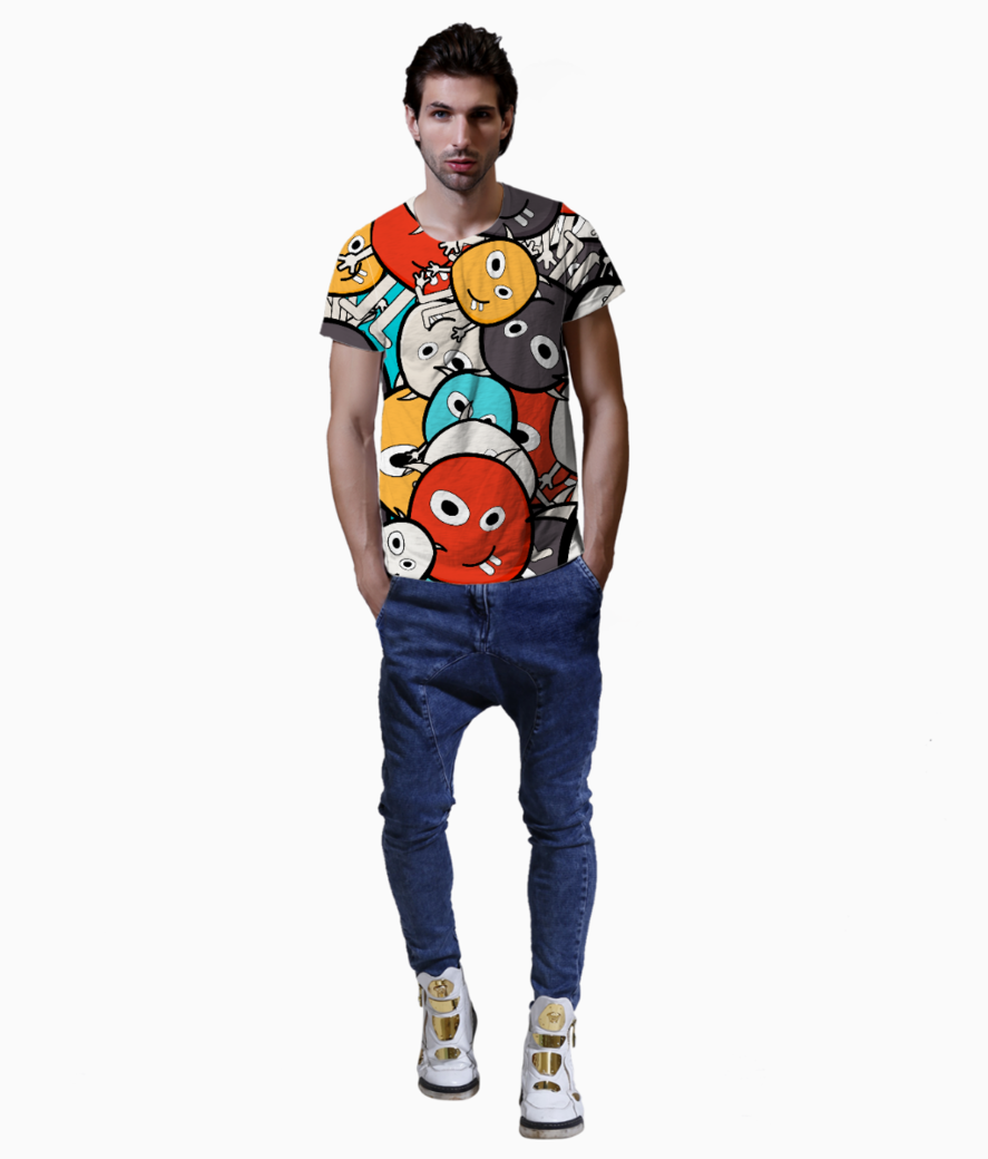 Colorful monster faces t shirt front