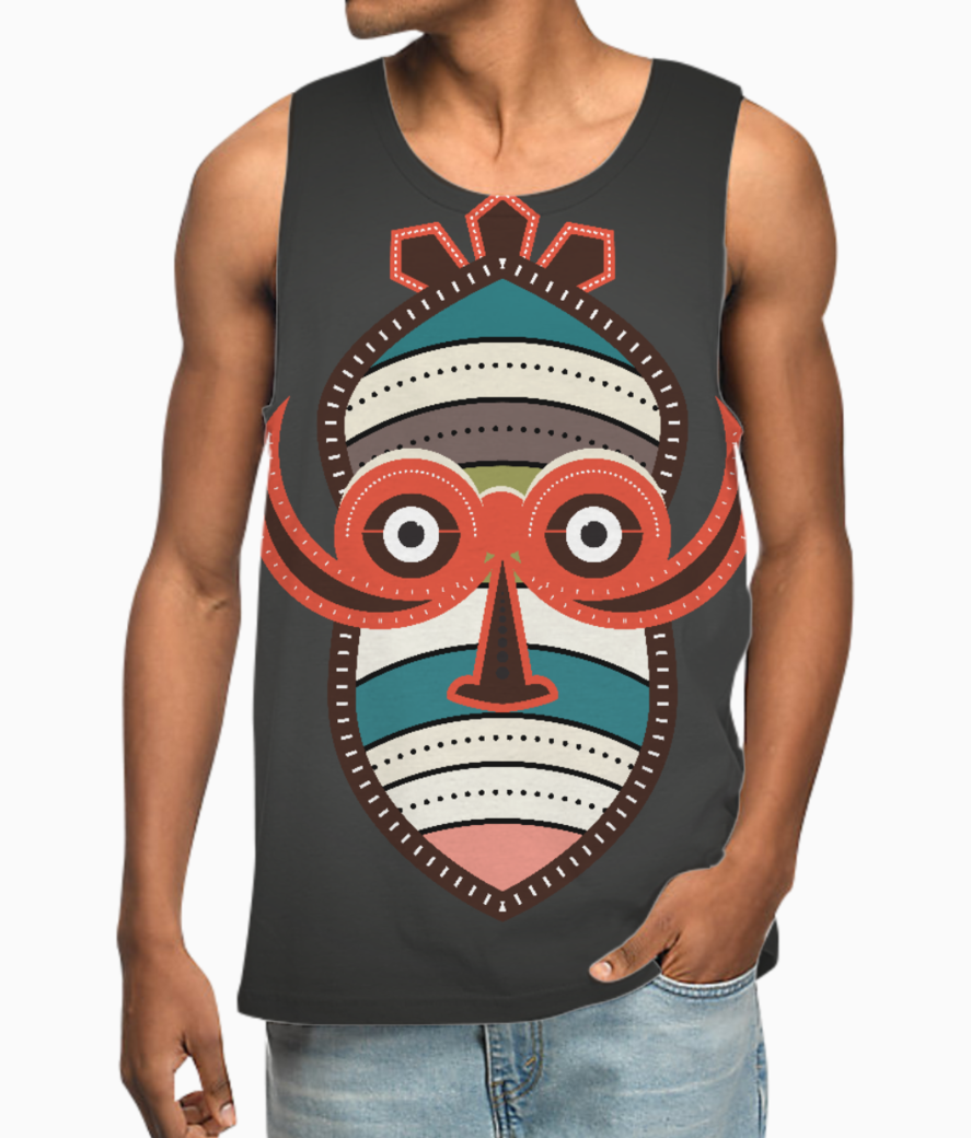 African authentic tribal mask 1 vest front