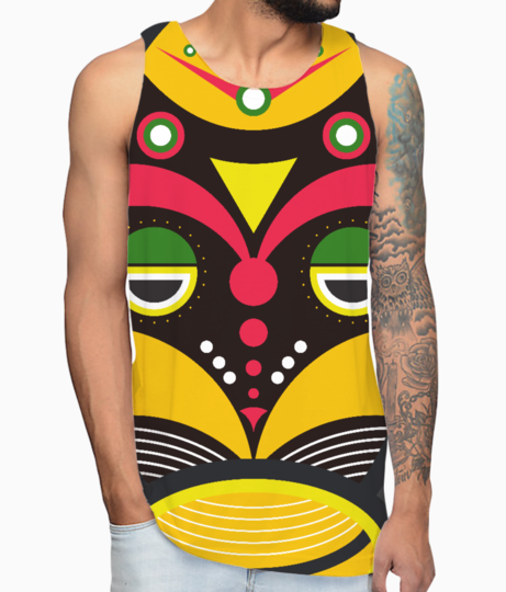 African traditional tribal mask vest front