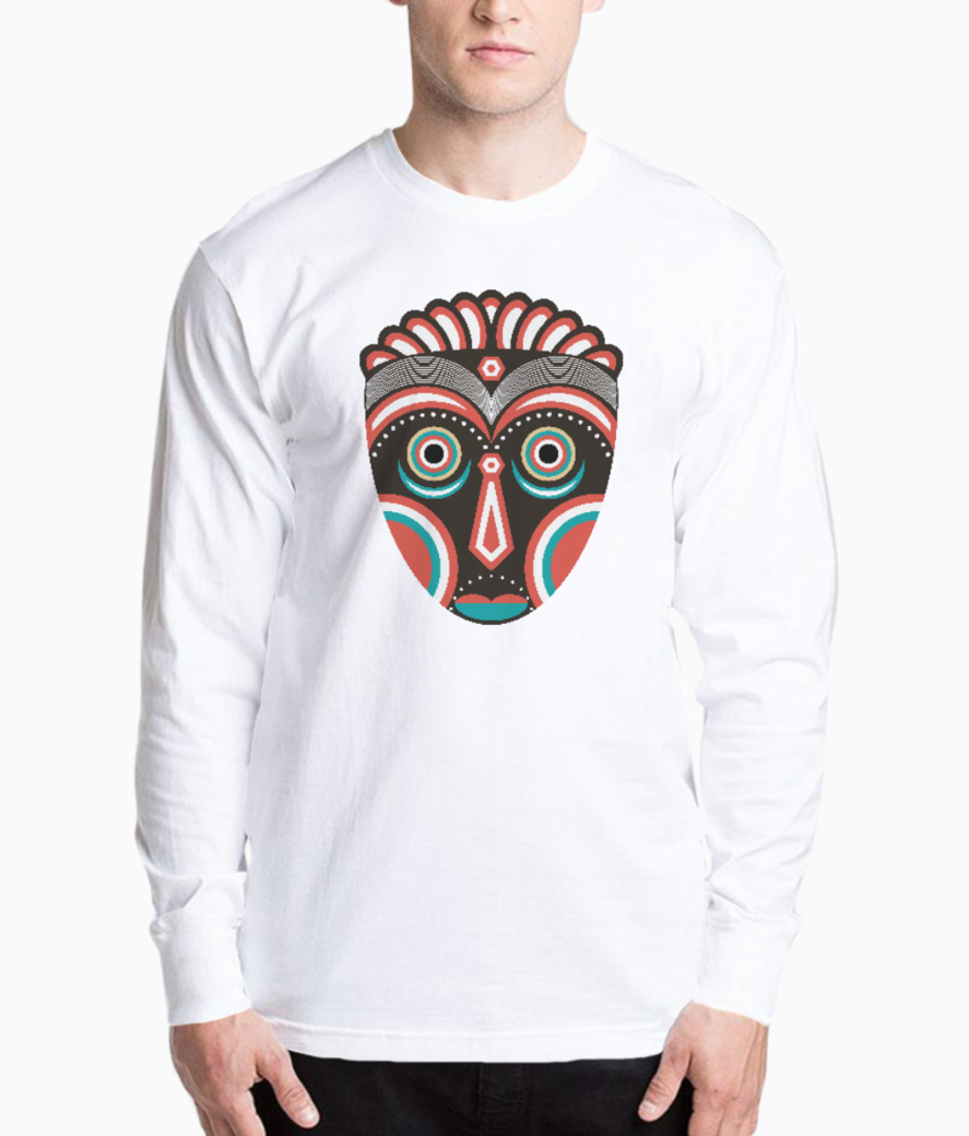 Lulua ethnic tribal mask henley front