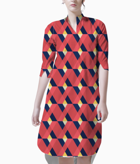 Red triangle tile ceramic kurta front