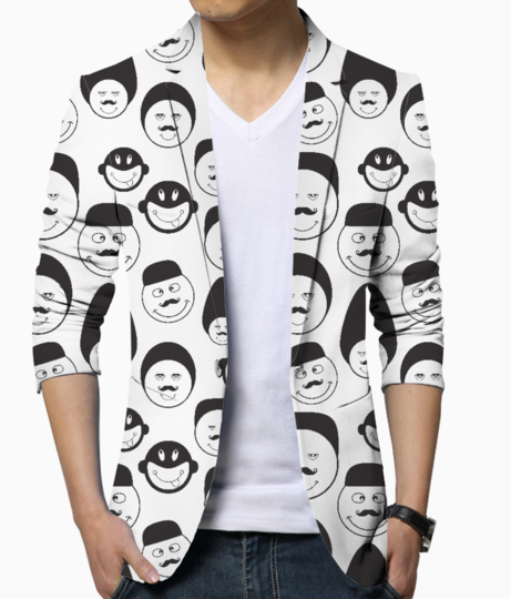 Funny emotional faces men's blazer front