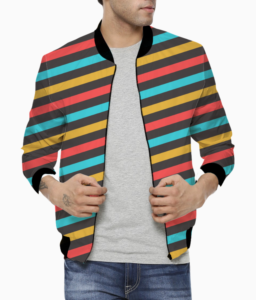 Retro stripe men's bomber front
