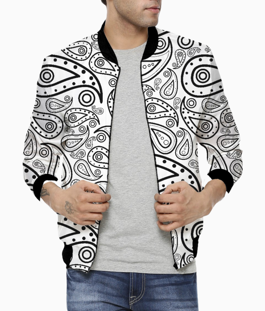 Black and white paisley men's bomber front