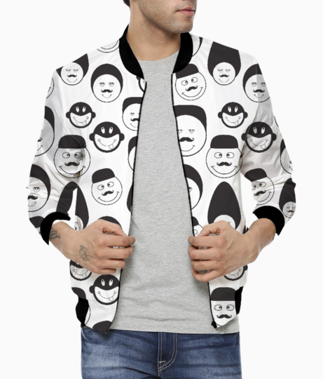 Funny emotional faces men's bomber front