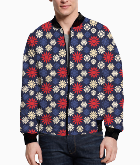 Red symbolic camomiles floral men's bomber front