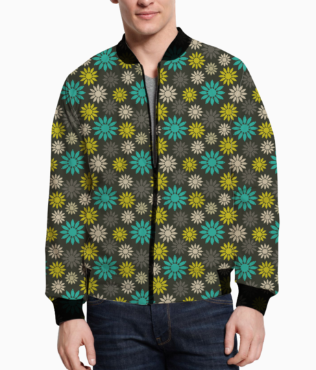 Symbolic camomiles floral men's bomber front
