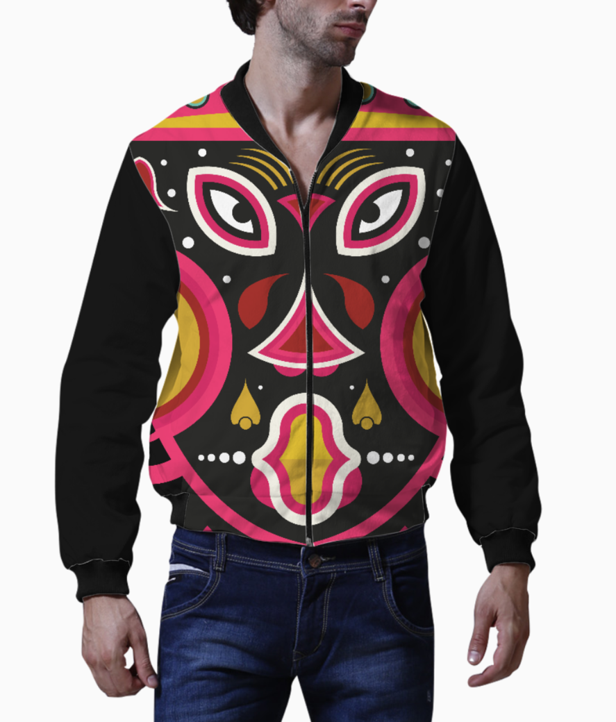 Ceremonial tribal mask men's bomber front