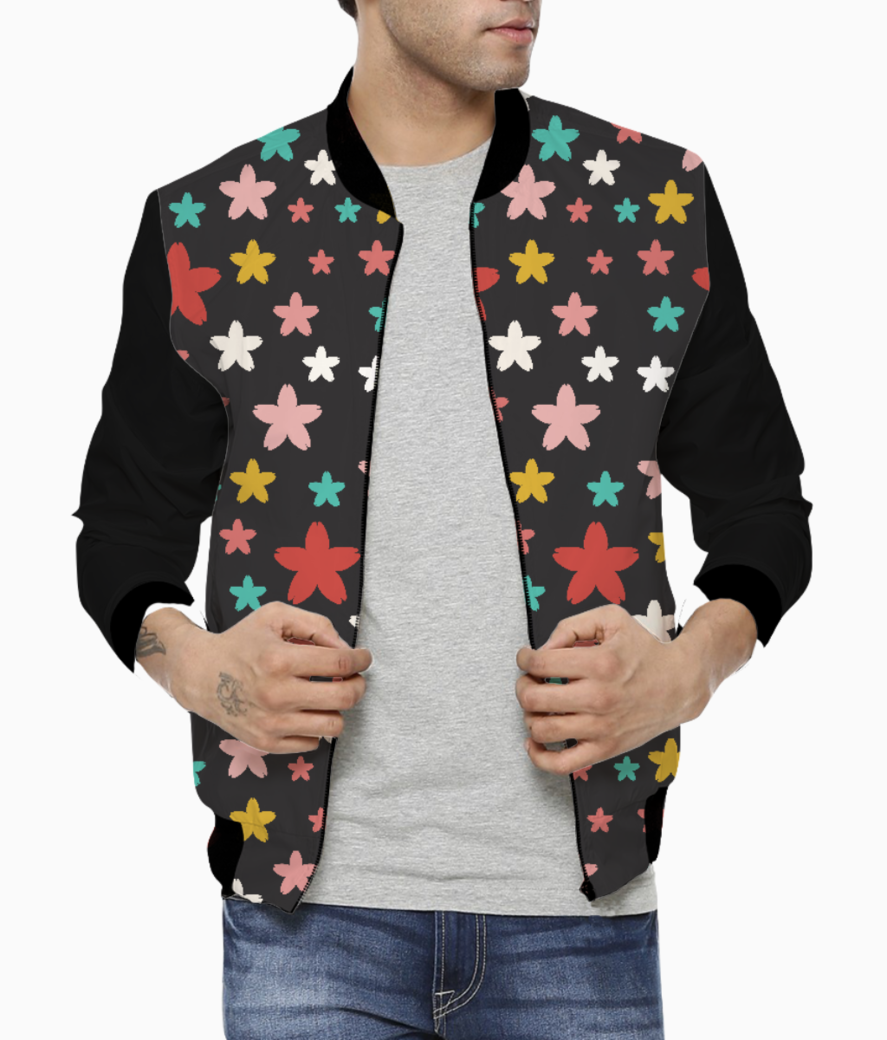 Symmetric star flowers men's bomber front