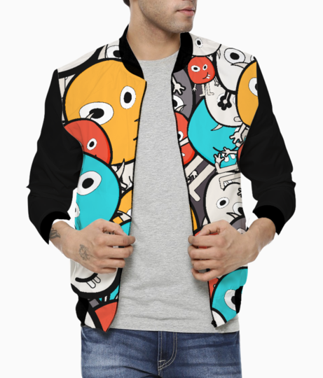 Multicolor doodle monsters men's bomber front