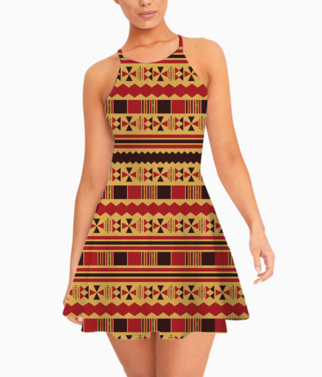 Yellow with red aztec summer dress front