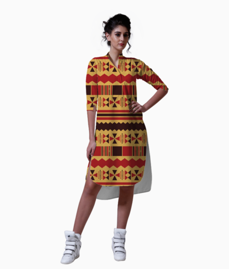 Yellow with red aztec kurta front
