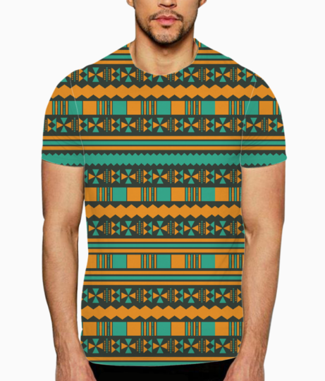 Green and yellow aztec tribal t shirt front