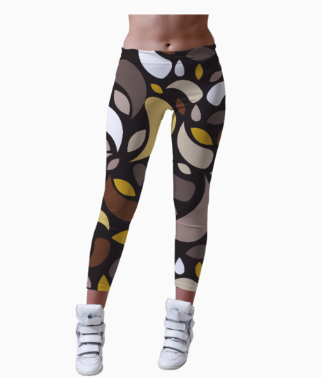 Brown leaves and geometric shapes leggings front