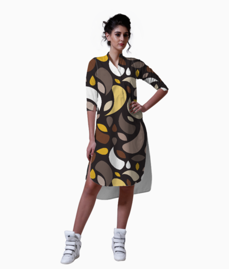 Brown leaves and geometric shapes kurta front