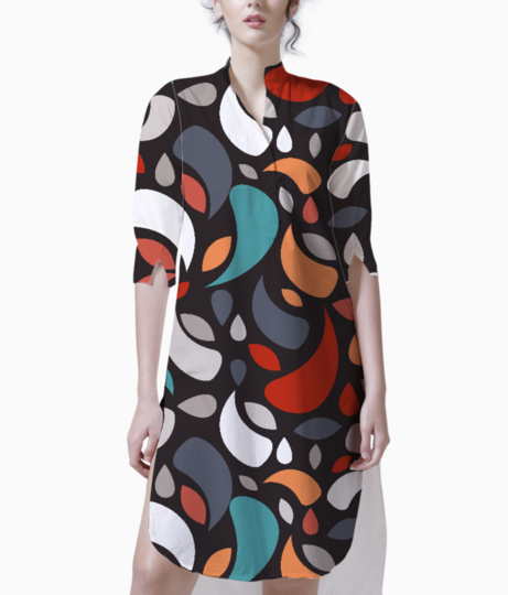Colorful leaves and geometric shapes kurta front