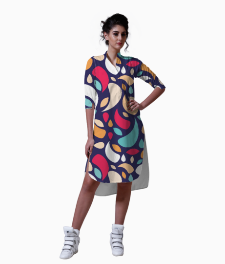 Multicolor leaves and geometric shapes kurta front