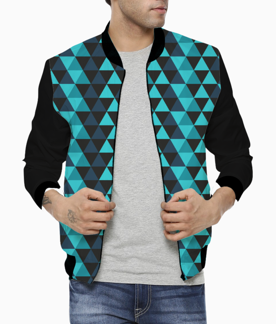 Abstract blue triangles men's bomber front