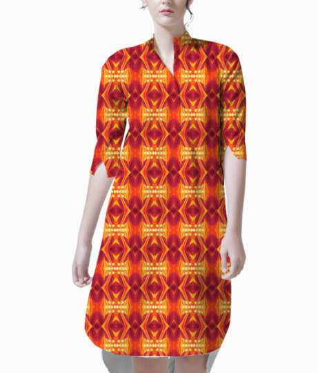 Red waves floral kurta front