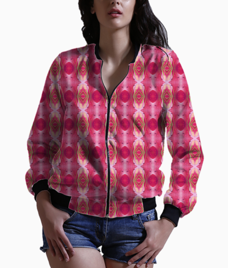Pink blast floral women's bomber front