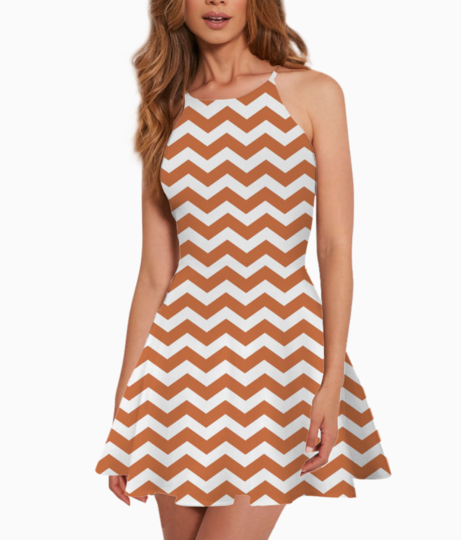 Coral chevron background pattern summer dress front
