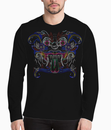 Tribal face illusion henley front