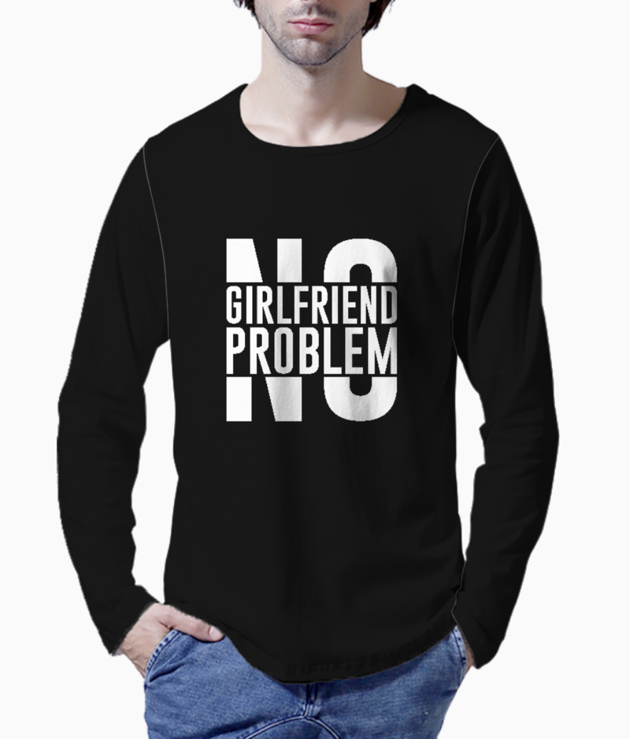 No girlfriend no problem typography henley front